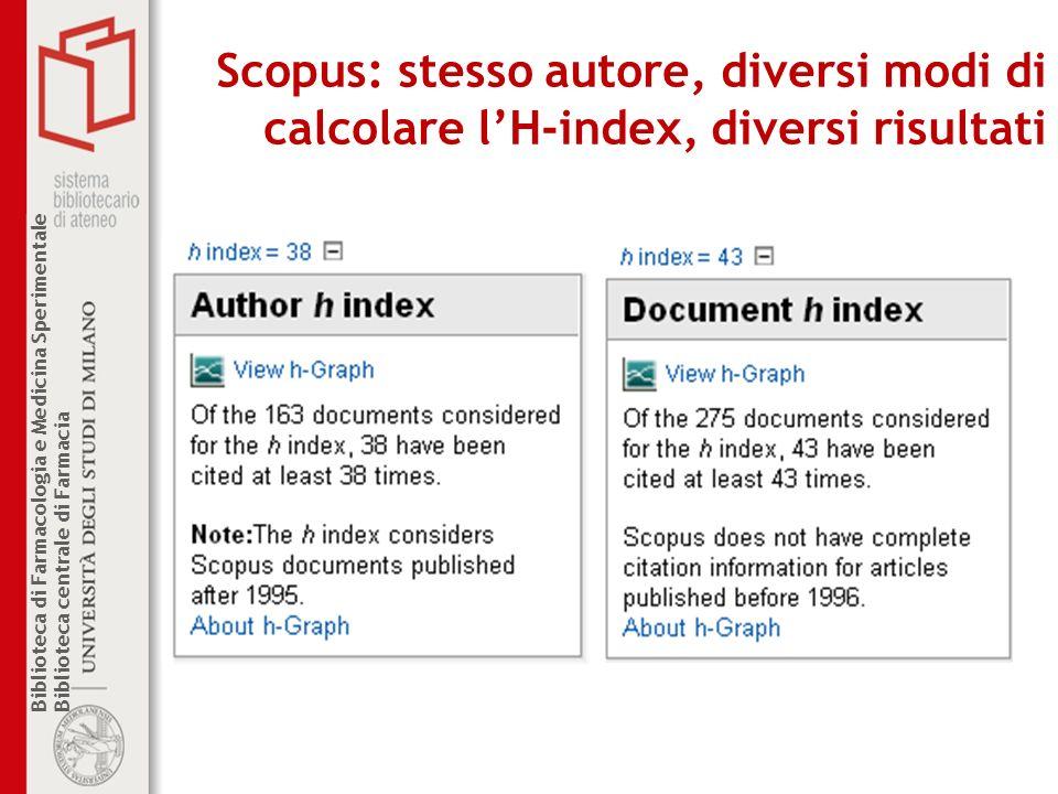 Scopus: stesso autore, diversi modi di calcolare l'H-index, diversi risultati