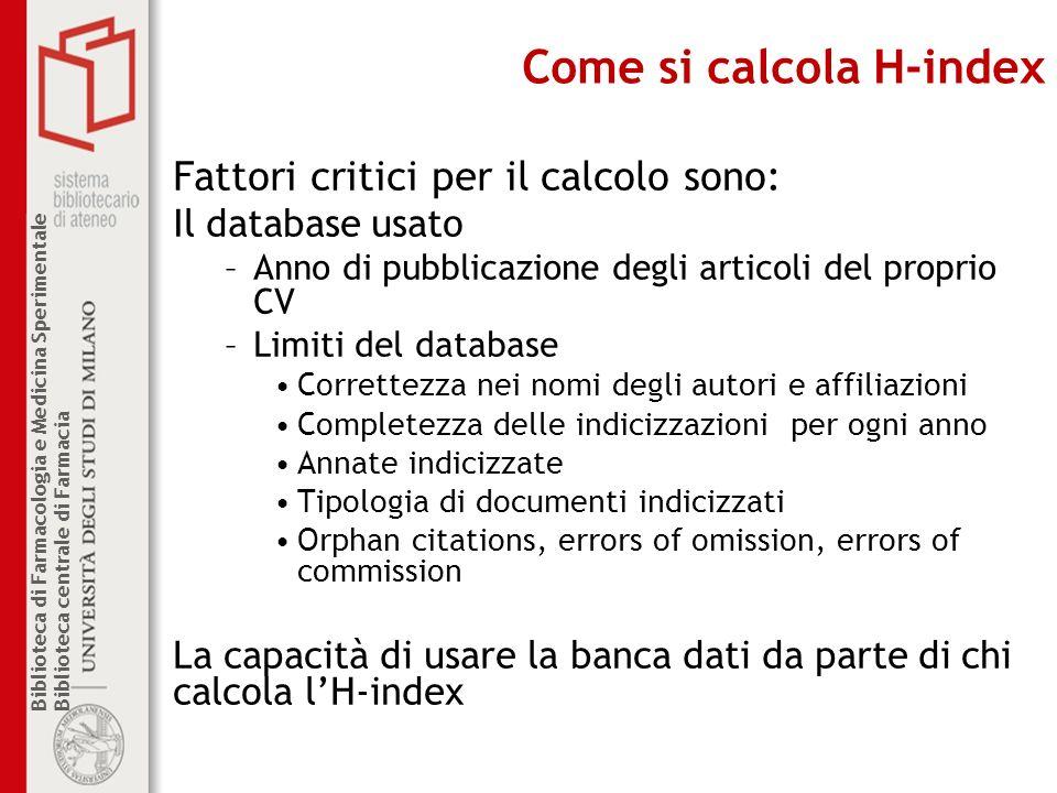 Come si calcola H-index