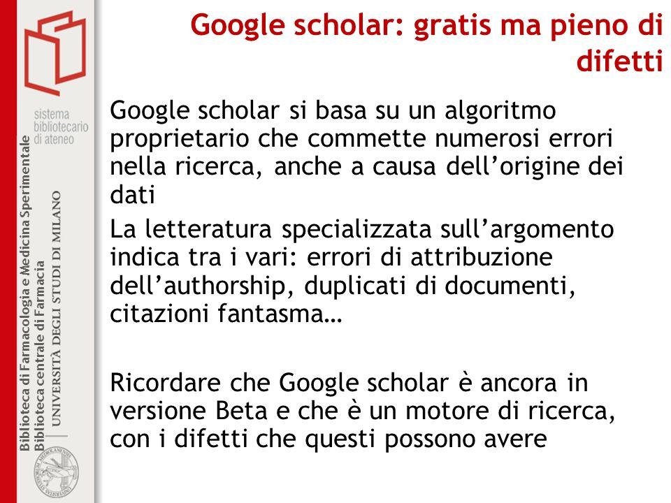 Google scholar: gratis ma pieno di difetti