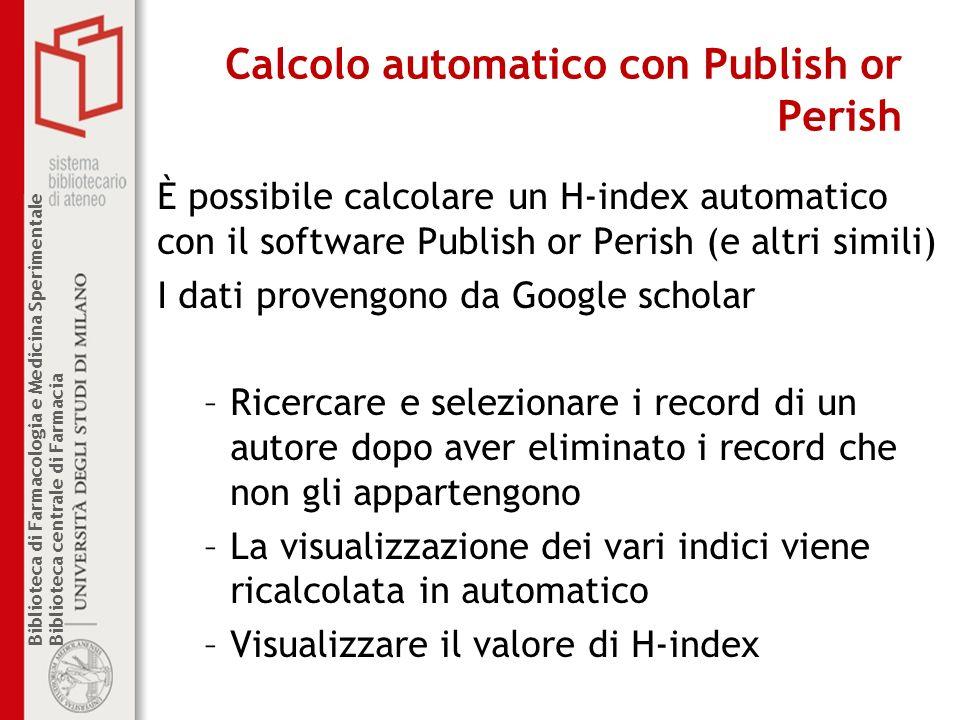 Calcolo automatico con Publish or Perish