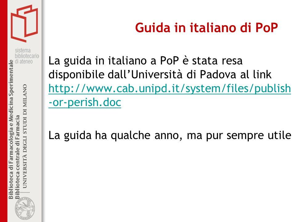 Guida in italiano di PoP