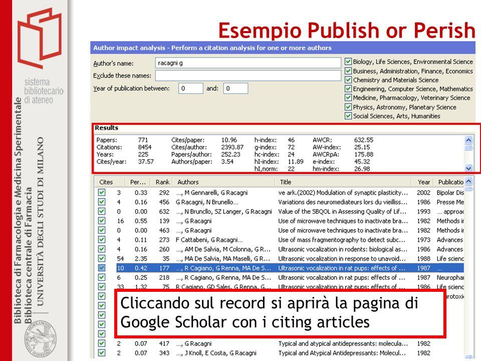 Esempio Publish or Perish