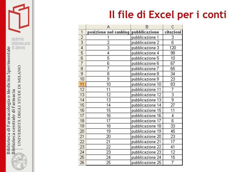 Il file di Excel per i conti