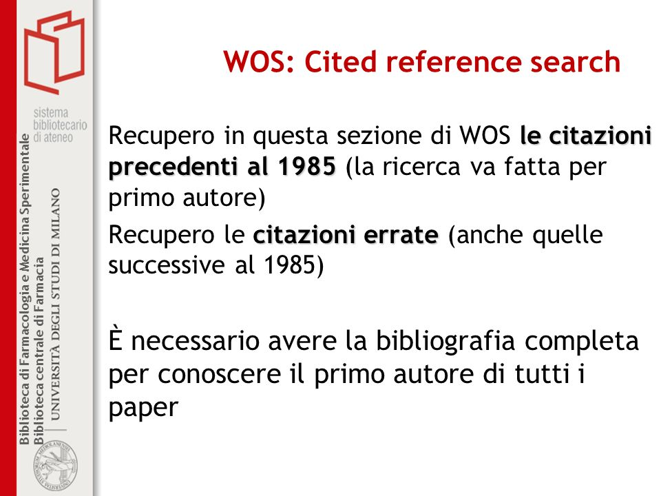 WOS: Cited reference search