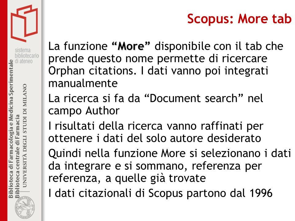 Scopus: More tab