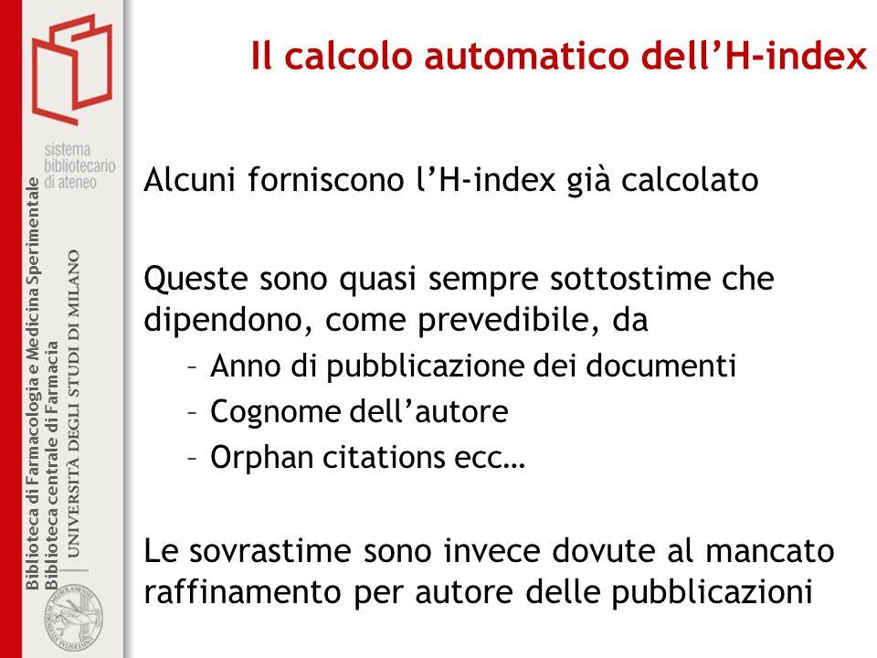 Il calcolo automatico dell'H-index