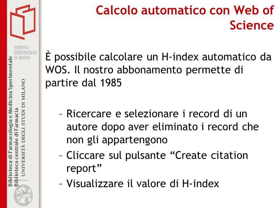 Calcolo automatico con Web of Science