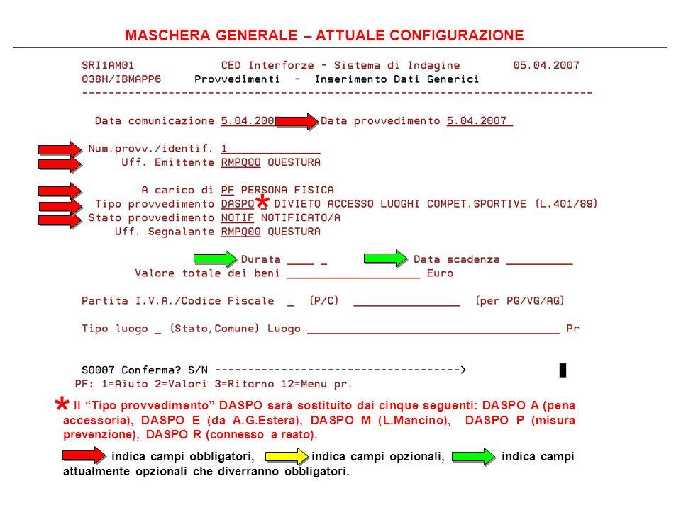 MASCHERA GENERALE – ATTUALE CONFIGURAZIONE