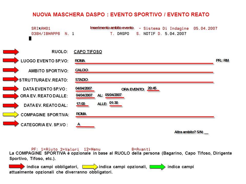 NUOVA MASCHERA DASPO : EVENTO SPORTIVO / EVENTO REATO