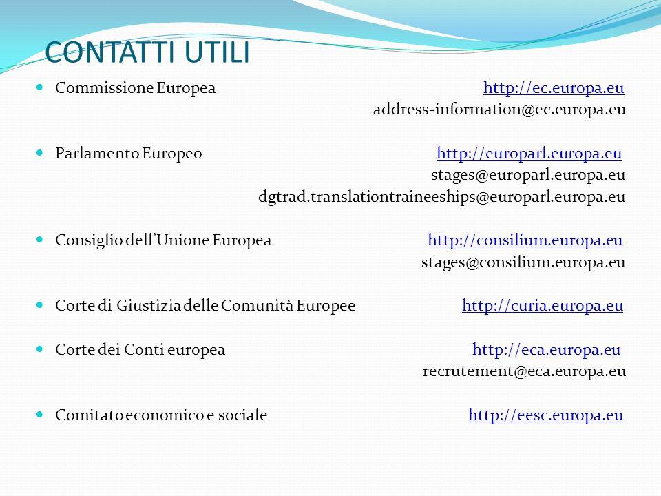 CONTATTI UTILI Commissione Europea http://ec.europa.eu