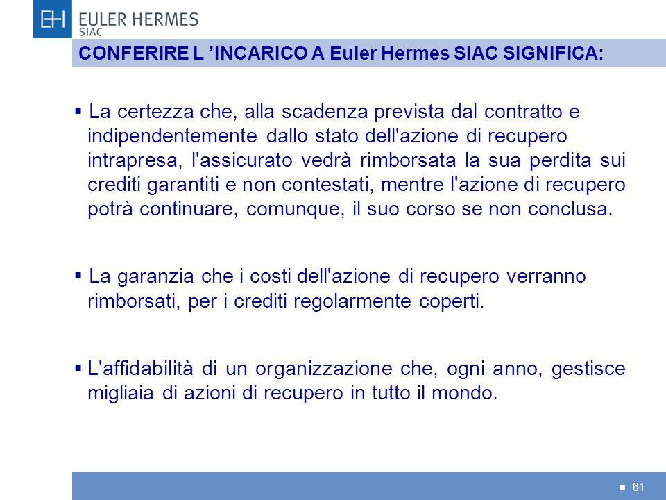 CONFERIRE L 'INCARICO A Euler Hermes SIAC SIGNIFICA: