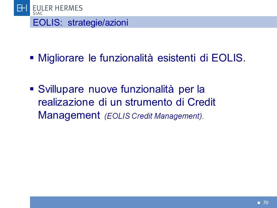 Migliorare le funzionalità esistenti di EOLIS.