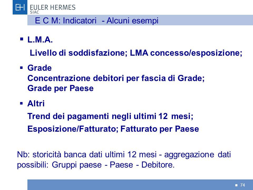L.M.A. E C M: Indicatori - Alcuni esempi