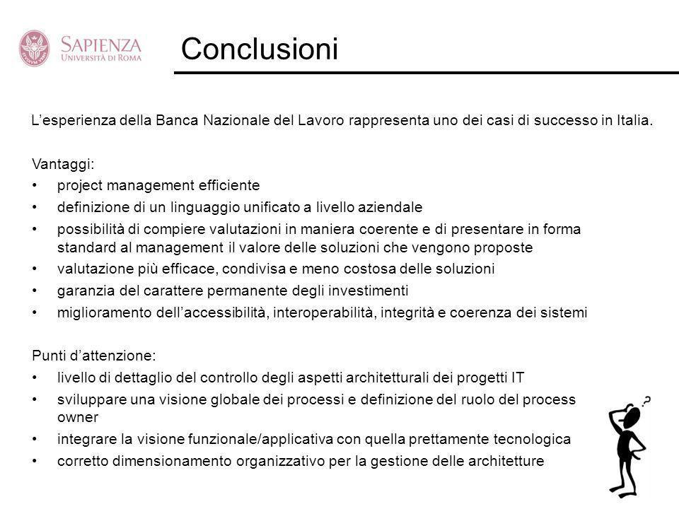 Conclusioni L'esperienza della Banca Nazionale del Lavoro rappresenta uno dei casi di successo in Italia.
