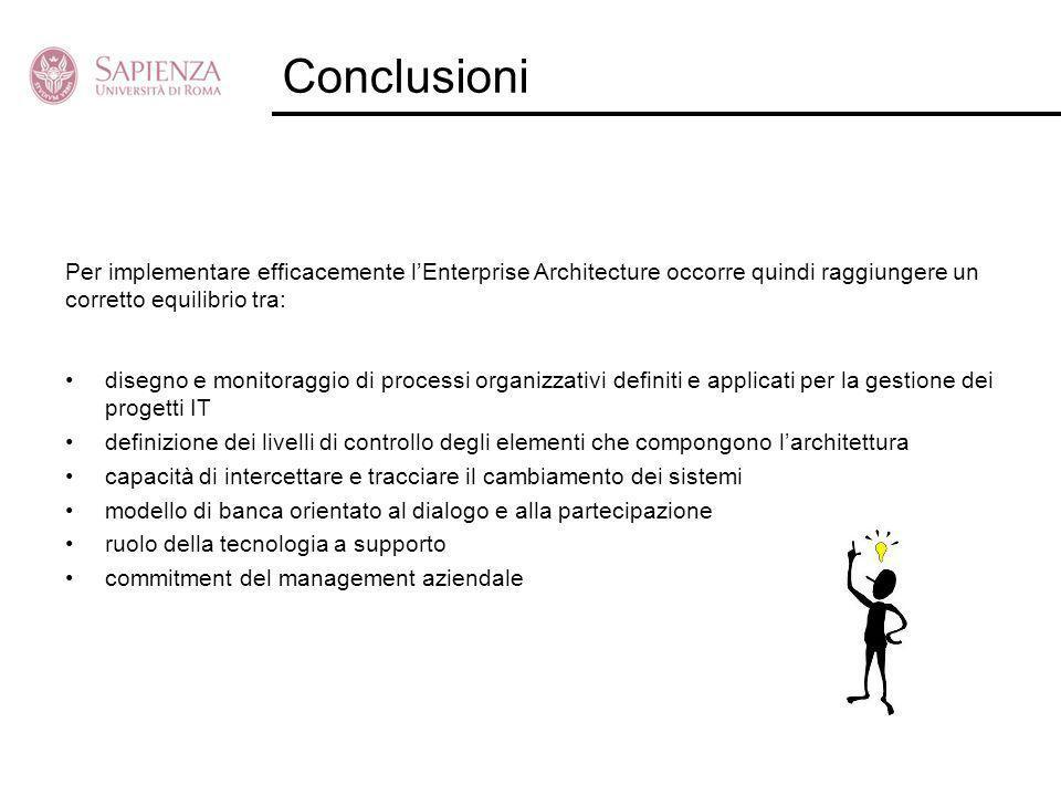 Conclusioni Per implementare efficacemente l'Enterprise Architecture occorre quindi raggiungere un corretto equilibrio tra: