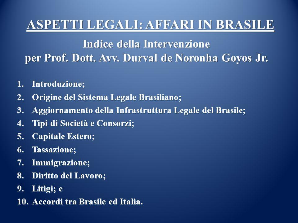 ASPETTI LEGALI: AFFARI IN BRASILE