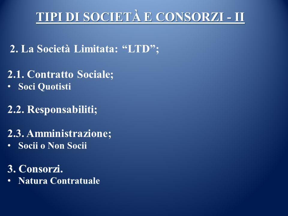 TIPI DI SOCIETÀ E CONSORZI - II