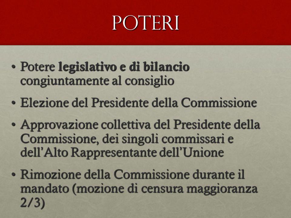 POTERI Potere legislativo e di bilancio congiuntamente al consiglio