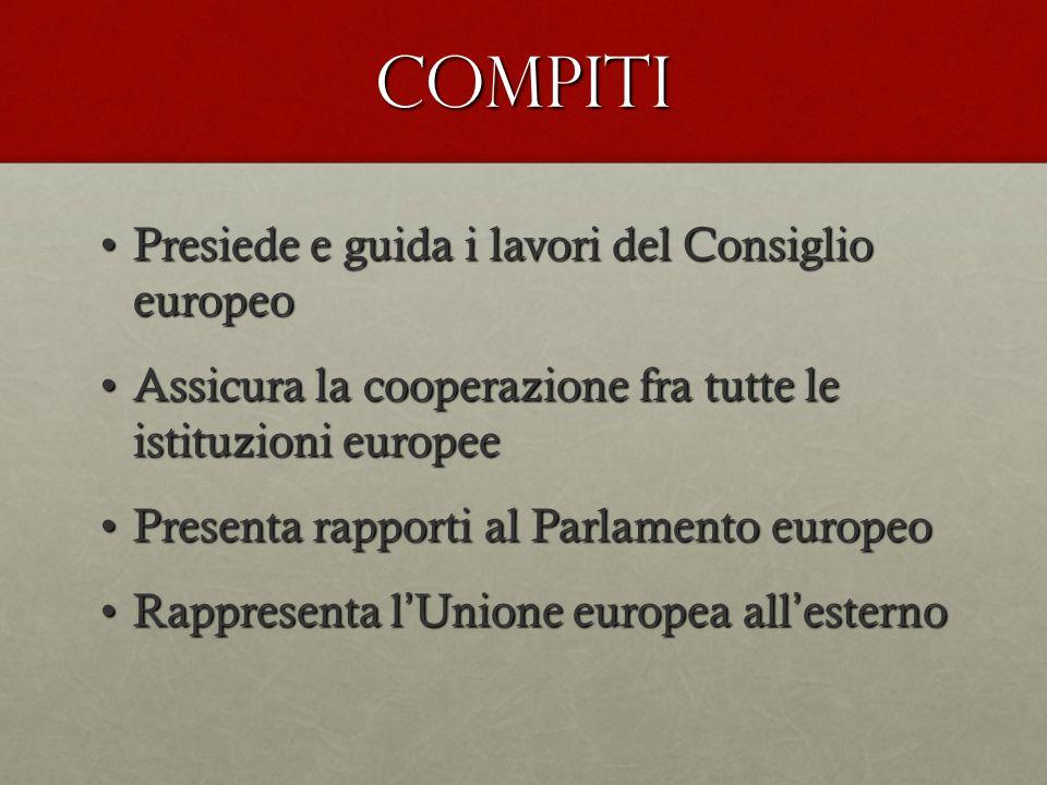 COMPITI Presiede e guida i lavori del Consiglio europeo