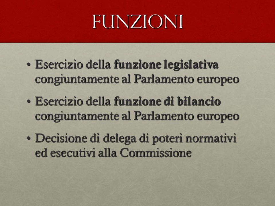 FUNZIONI Esercizio della funzione legislativa congiuntamente al Parlamento europeo.