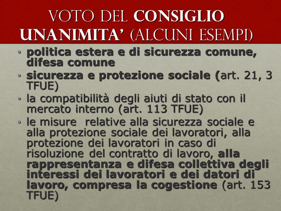 voto del Consiglio UNANIMITA' (alcuni esempi)
