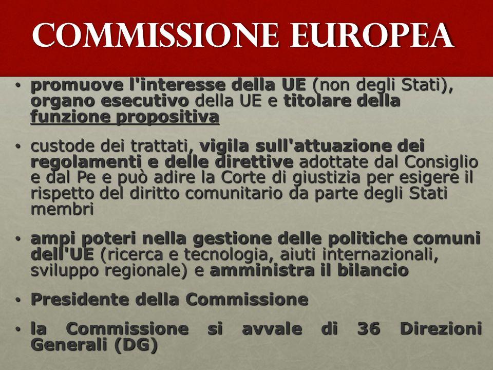 Commissione Europea promuove l interesse della UE (non degli Stati), organo esecutivo della UE e titolare della funzione propositiva.
