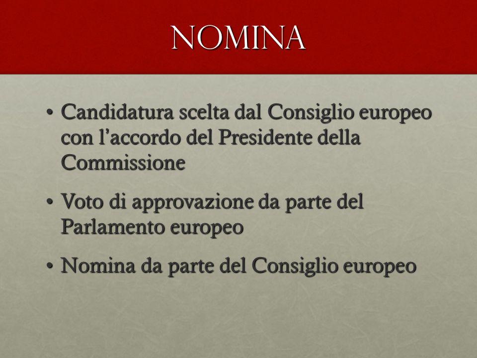 NOMINA Candidatura scelta dal Consiglio europeo con l'accordo del Presidente della Commissione.