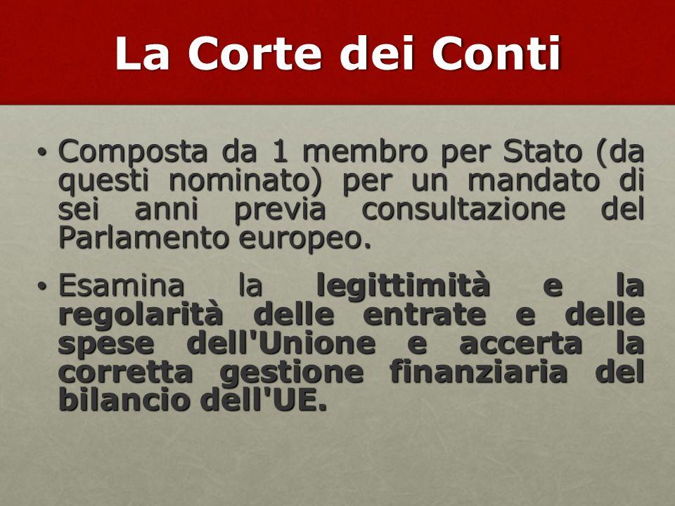La Corte dei Conti Composta da 1 membro per Stato (da questi nominato) per un mandato di sei anni previa consultazione del Parlamento europeo.