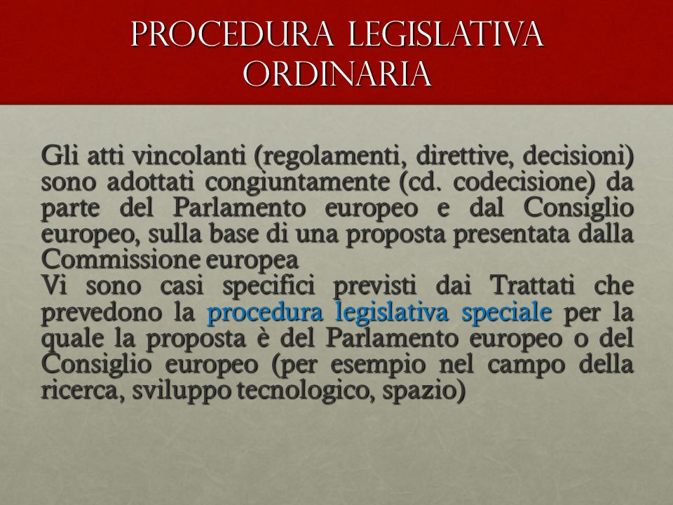 PROCEDURA LEGISLATIVA ORDINARIA