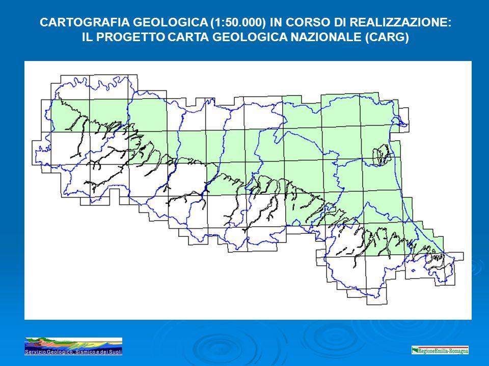 CARTOGRAFIA GEOLOGICA (1:50.000) IN CORSO DI REALIZZAZIONE: