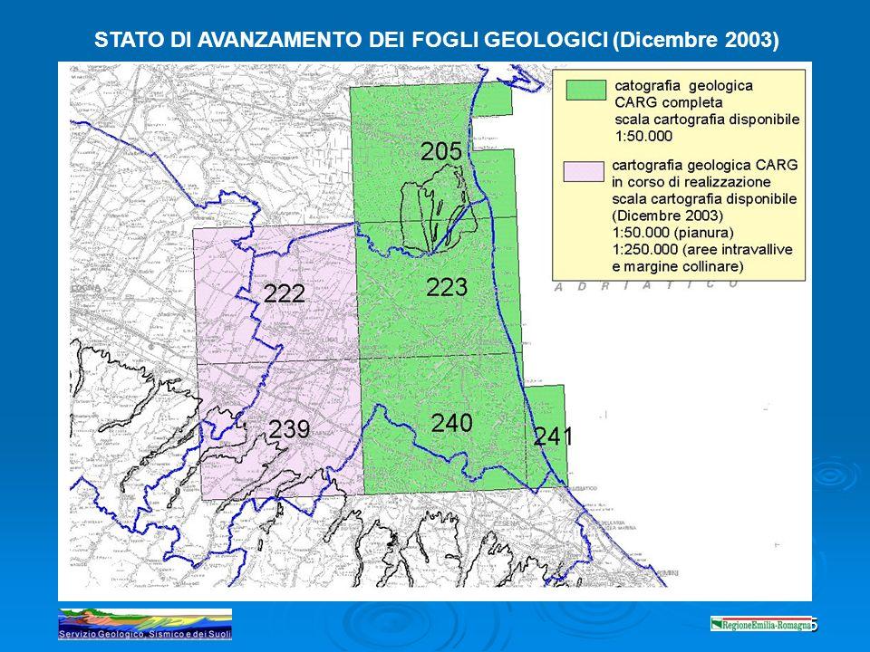 STATO DI AVANZAMENTO DEI FOGLI GEOLOGICI (Dicembre 2003)