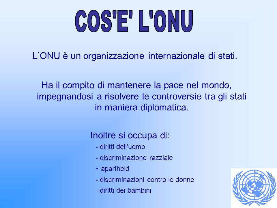 L'ONU è un organizzazione internazionale di stati.
