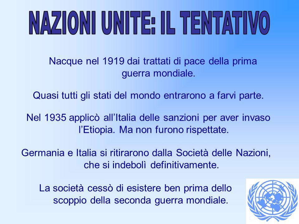 NAZIONI UNITE: IL TENTATIVO