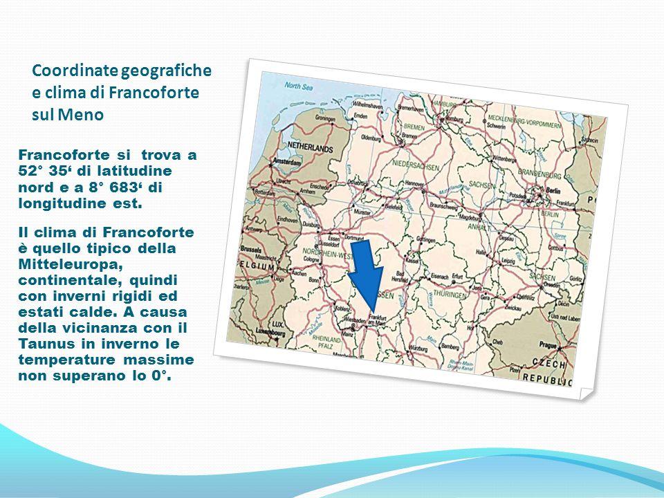 Coordinate geografiche e clima di Francoforte sul Meno