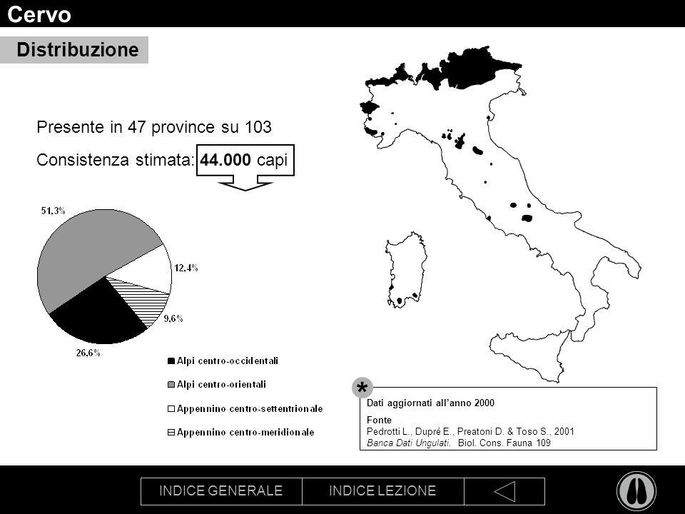 * Cervo Distribuzione Presente in 47 province su 103