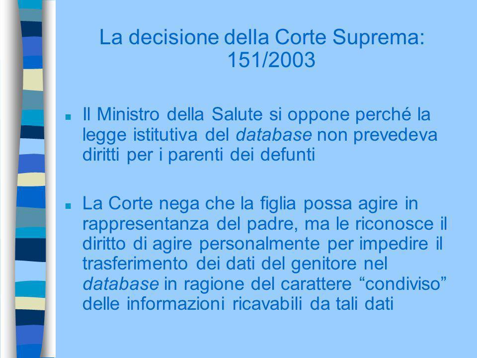 La decisione della Corte Suprema: 151/2003