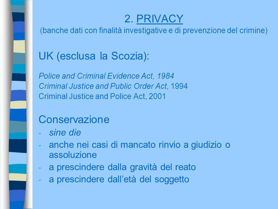 (banche dati con finalità investigative e di prevenzione del crimine)