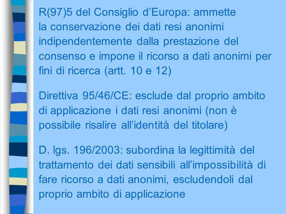 R(97)5 del Consiglio d'Europa: ammette