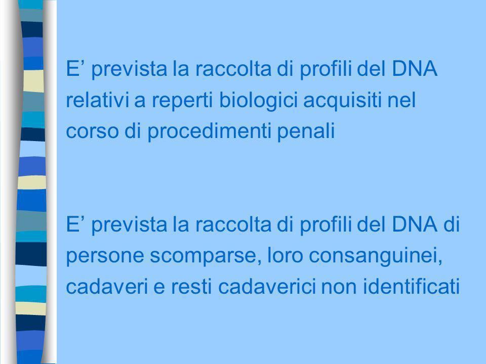 E' prevista la raccolta di profili del DNA