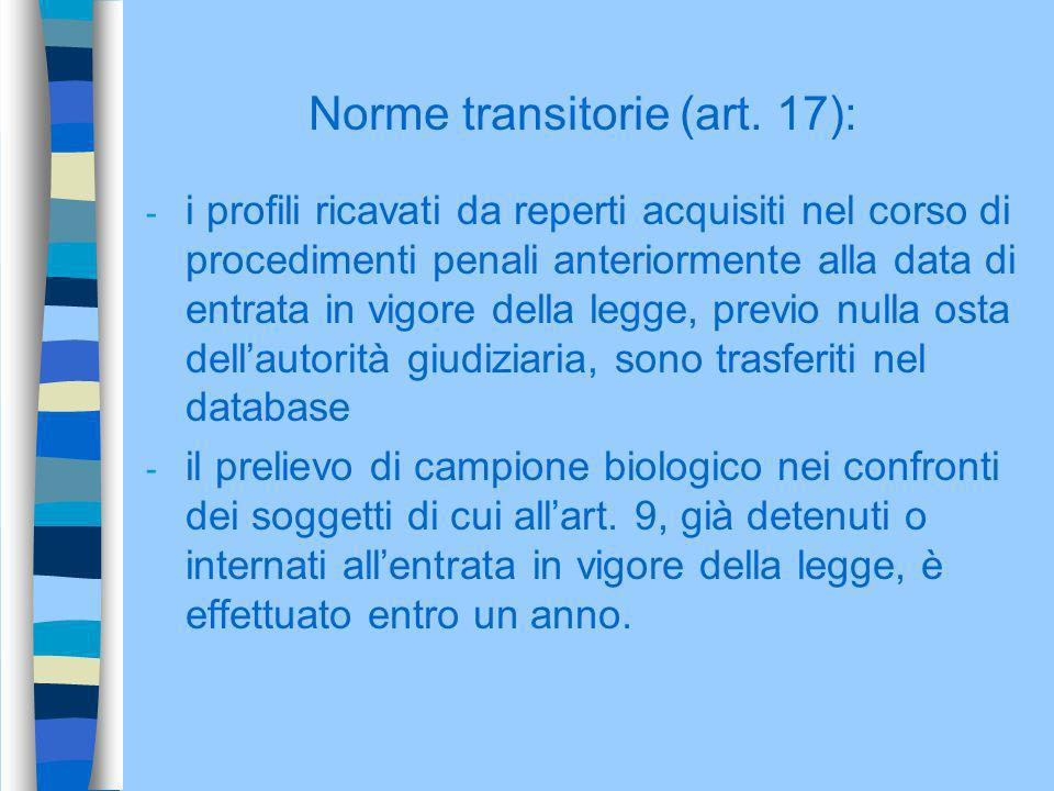 Norme transitorie (art. 17):
