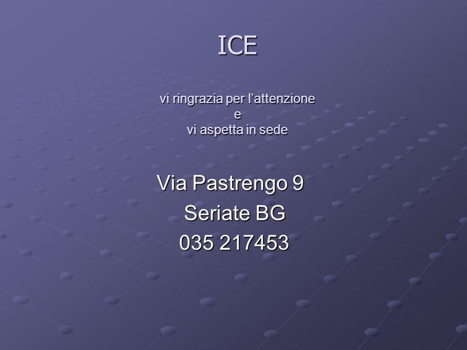 ICE vi ringrazia per l'attenzione e vi aspetta in sede