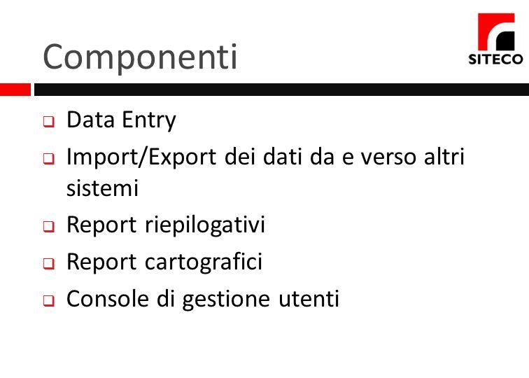 Componenti Data Entry Import/Export dei dati da e verso altri sistemi