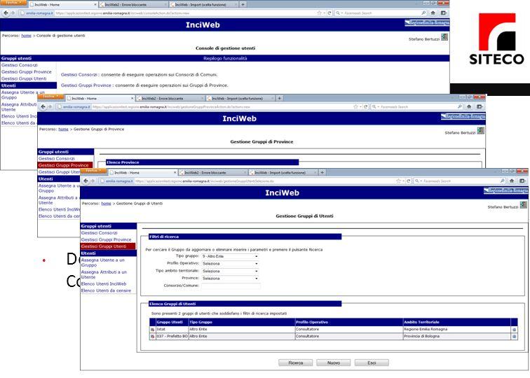 Console di gestione Creazione e gestioni utenti che accedono al sistema. Creazione utenti. Assegnazione del profilo operativo.