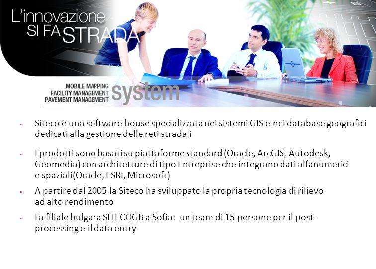 Profilo di Siteco Siteco è una software house specializzata nei sistemi GIS e nei database geografici dedicati alla gestione delle reti stradali.