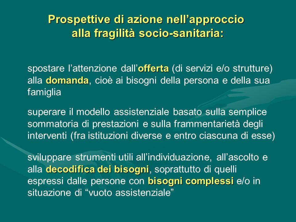 Prospettive di azione nell'approccio alla fragilità socio-sanitaria: