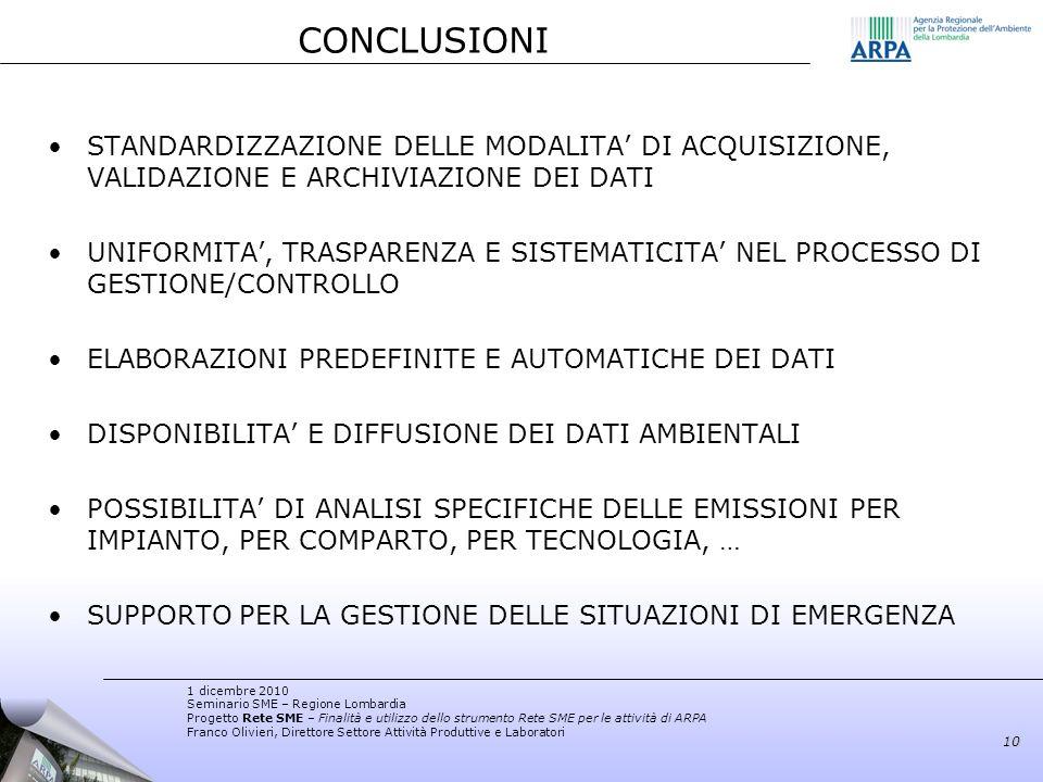 CONCLUSIONI STANDARDIZZAZIONE DELLE MODALITA' DI ACQUISIZIONE, VALIDAZIONE E ARCHIVIAZIONE DEI DATI.