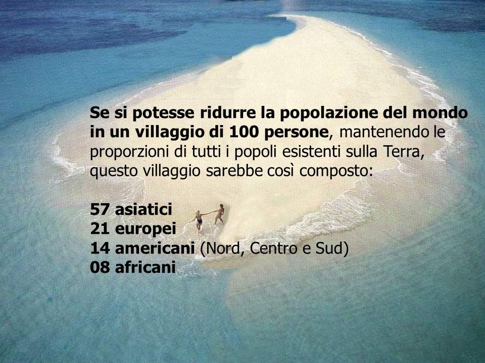 Se si potesse ridurre la popolazione del mondo in un villaggio di 100 persone, mantenendo le proporzioni di tutti i popoli esistenti sulla Terra,