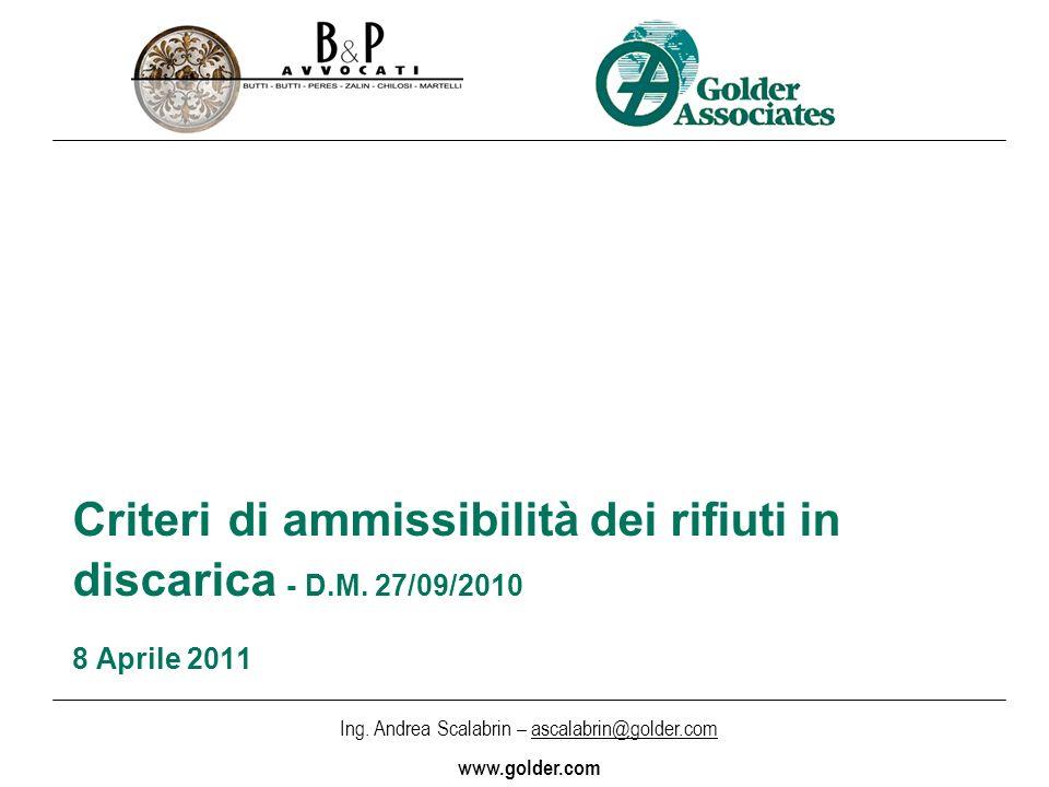 Criteri di ammissibilità dei rifiuti in discarica - D. M