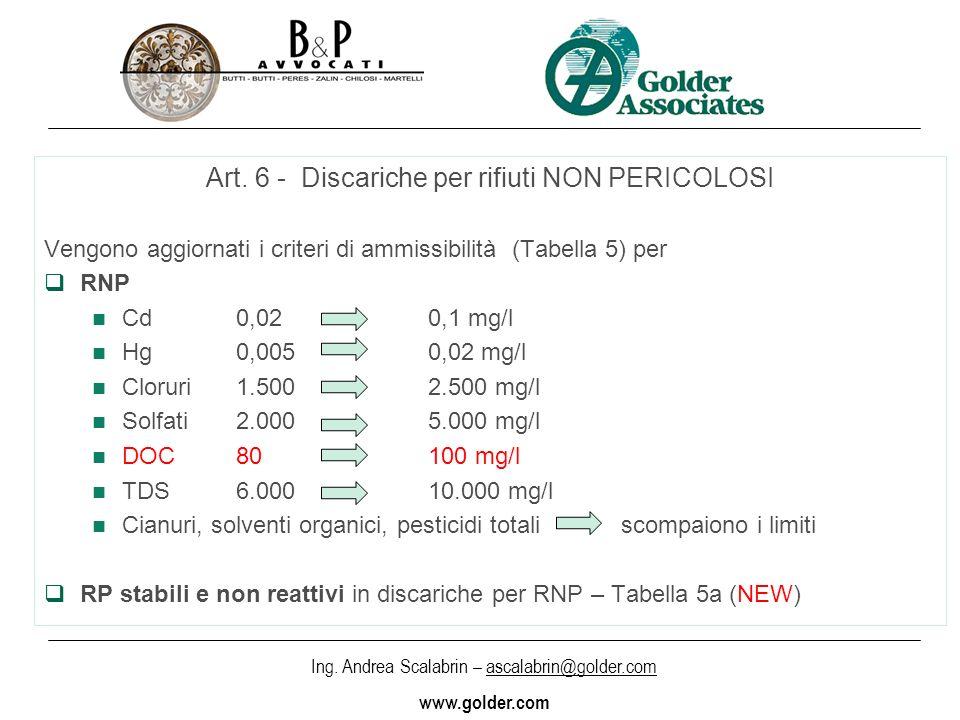 Art. 6 - Discariche per rifiuti NON PERICOLOSI