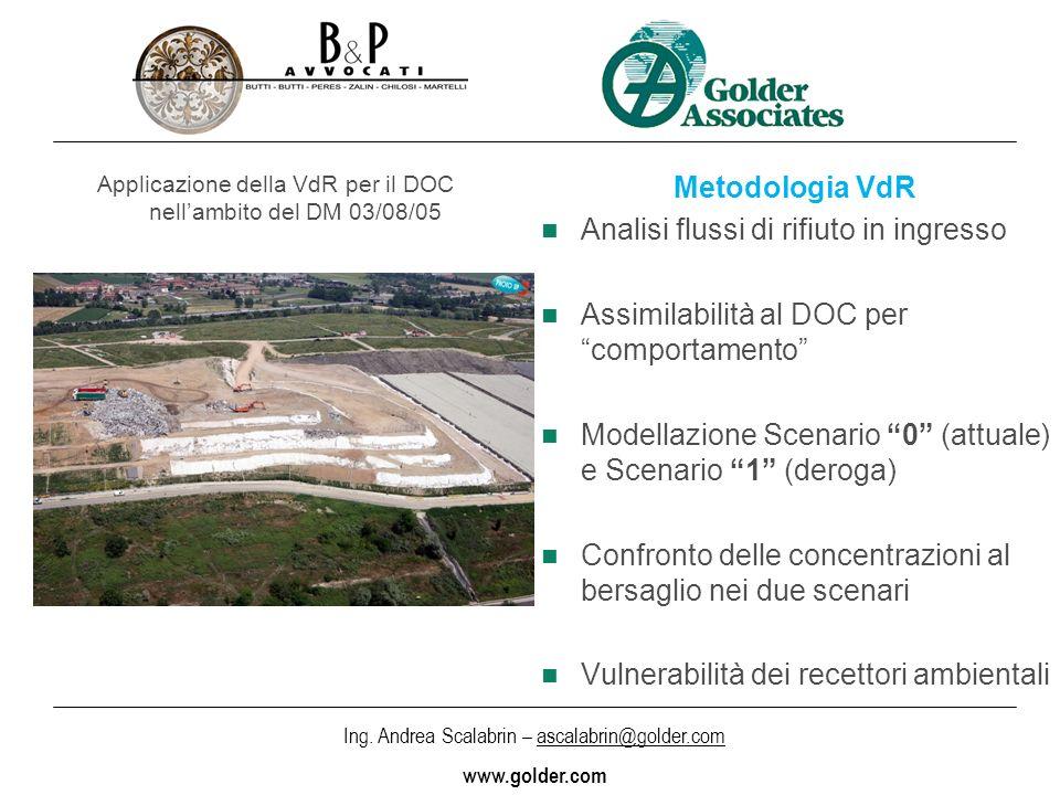 Applicazione della VdR per il DOC nell'ambito del DM 03/08/05